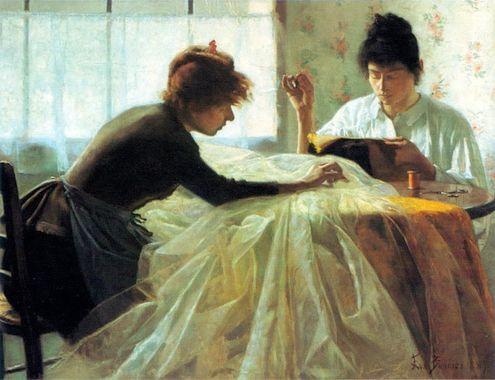 """""""Dressmakers"""", peinture d'Eva Bonnier, 1887"""